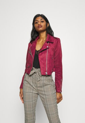 ONLSHERRY CROP BOND BIKER - Faux leather jacket - rhubarb