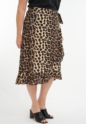 MET PRINT - Wrap skirt - light brown