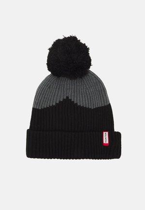 MOUSTACHE BOBBLE HAT UNISEX - Muts - black/grey