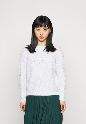 POINTELLE CABLE  - Strickpullover - light grey