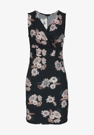 Shift dress - schwarz rose bedruckt