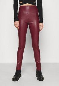 Hollister Co. - Leggings - Trousers - burgundy leather - 3