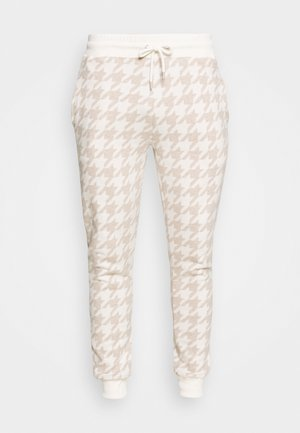 NEUTRAL HOUNDSTOOTH  - Tracksuit bottoms - stone