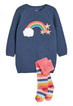NAVY RAINBOW JUMPER DRESS WITH TIGHTS (3MTHS-7YRS) - Jumper dress - blue