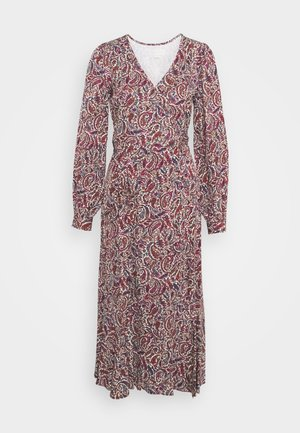 TIERED WRAP DRESS - Sukienka letnia - dark ruby