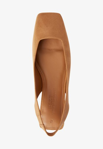 SQUARE TOE  - Slingback ballet pumps - camel