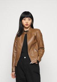 ONLY Petite - ONLMELISA JACKET - Faux leather jacket - cognac - 3