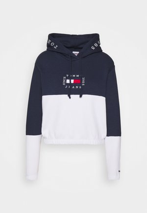 COLOR BLOCK HOODIE - Kapuzenpullover - twilight navy/white