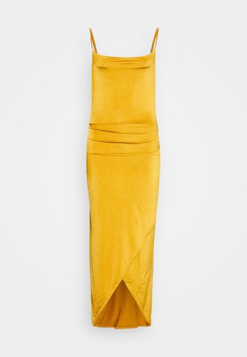 STRAPPY COWELL NECK LONG DRESS