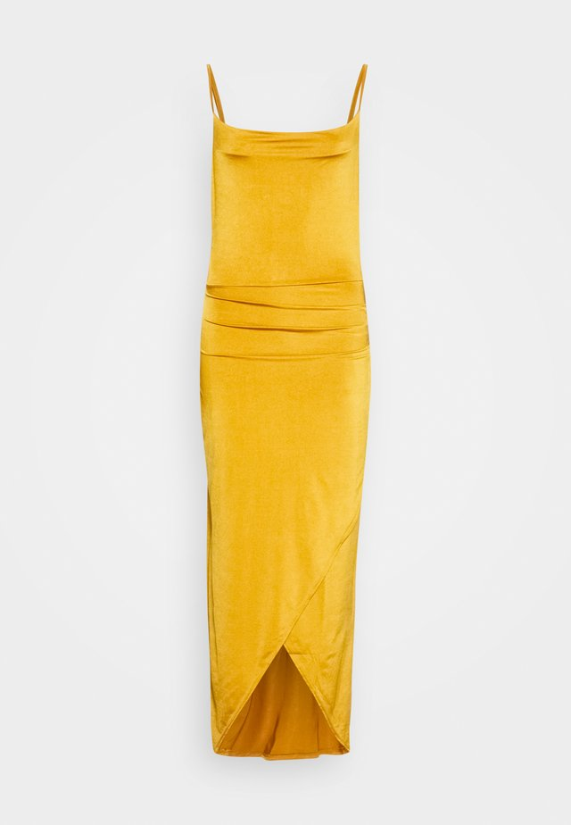 STRAPPY COWELL NECK LONG DRESS - Cocktail dress / Party dress - mustard