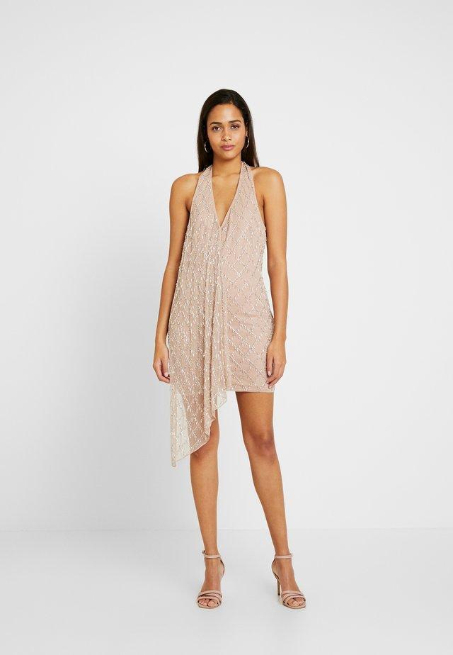 DROP PEARL DRAPE MINI DRESS - Cocktail dress / Party dress - nude