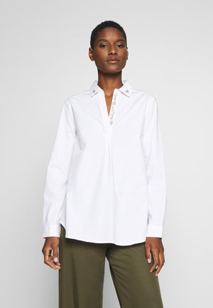 POLO NECK BLOUSE WITH EMBROIDERY DETAIL - Button-down blouse - white