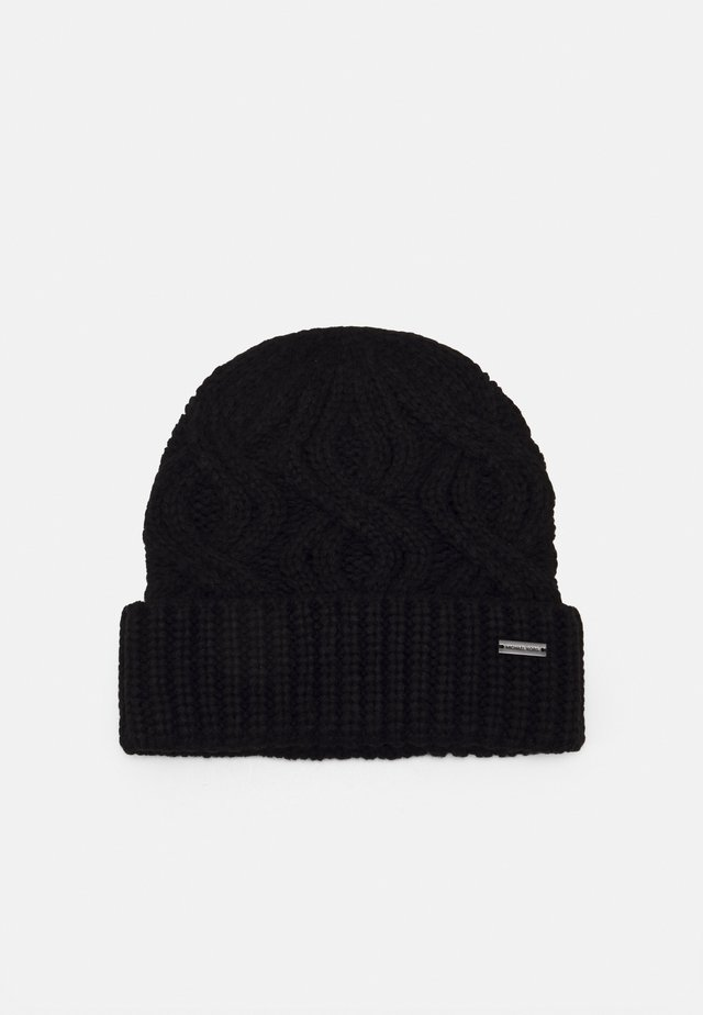 SHAKER CABLE CUFF HAT UNISEX - Lue - black