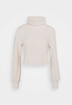 CUT AND SEW CROPPED JUMPER WITH VOLUME LONG SLEEVES - Jumper - champagne