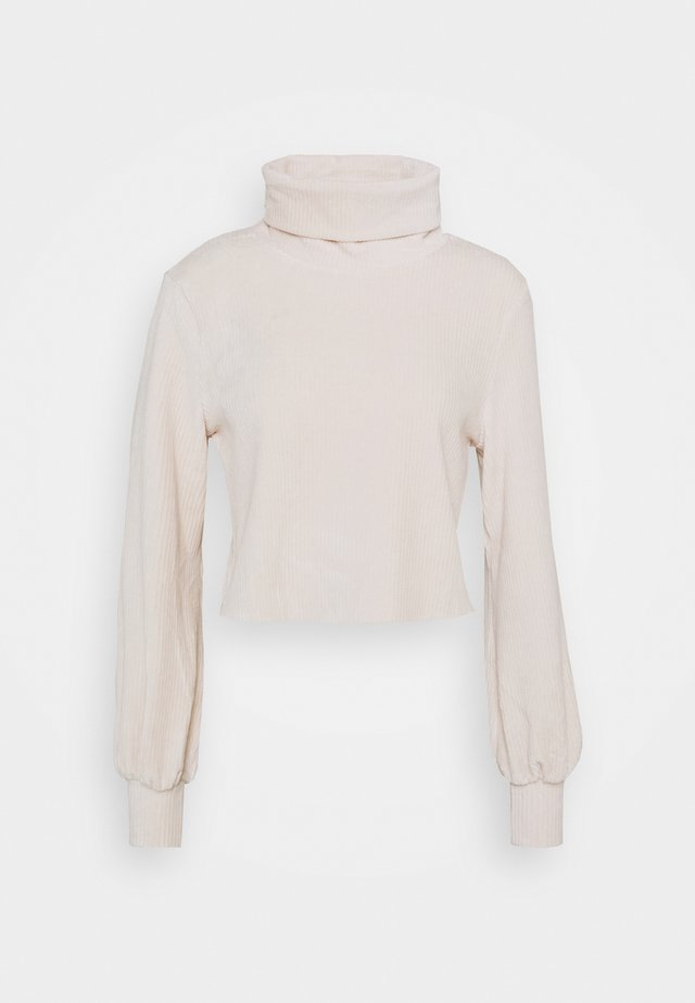 CUT AND SEW CROPPED JUMPER WITH VOLUME LONG SLEEVES - Sweter - champagne