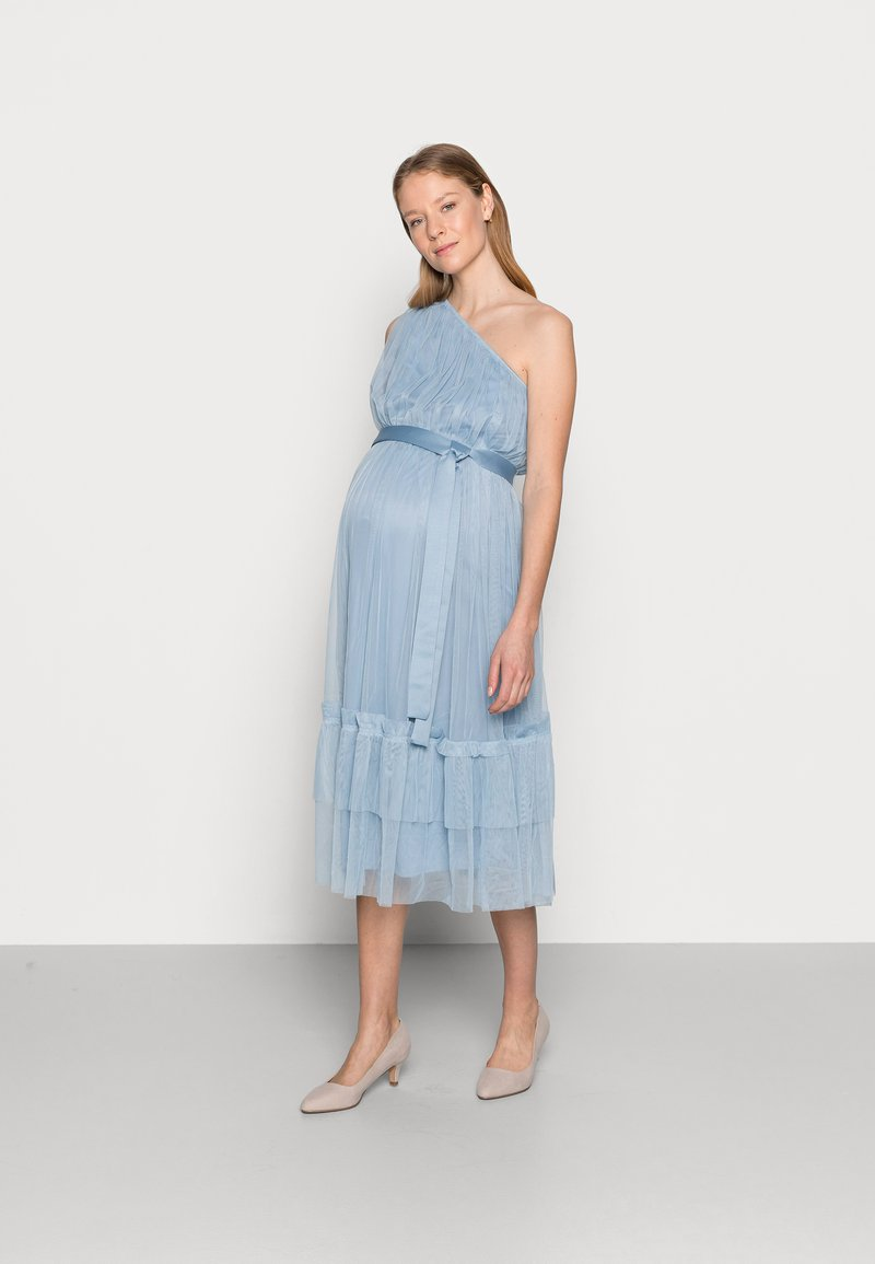 Anaya with love Maternity - ONE SHOULDER MIDI DRESS WITH RUFFLE DETAIL - Cocktail dress / Party dress - cornflower blue