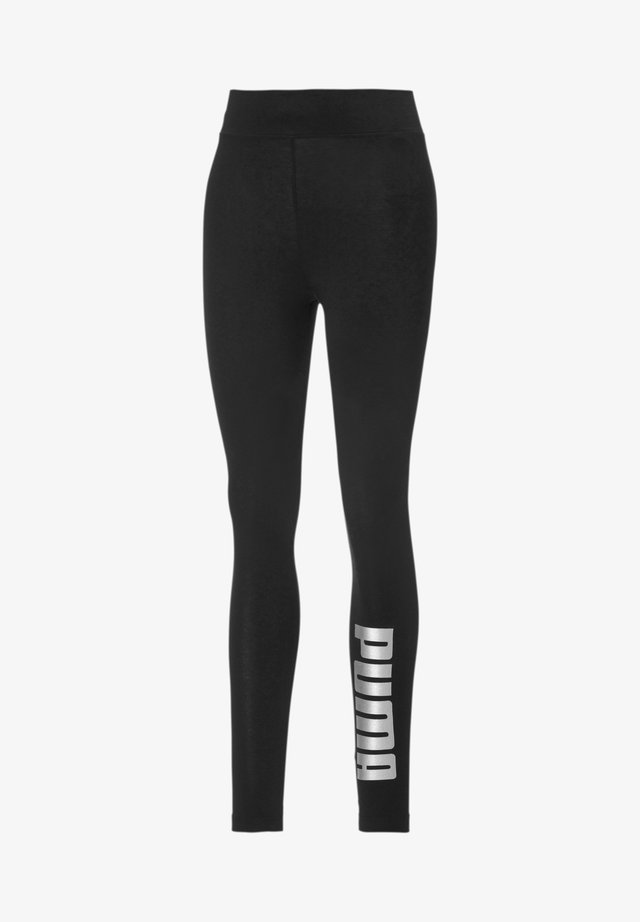 Leggings - Trousers - black-silver