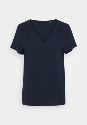VMNADS SHOULDER FRILL - Basic T-shirt - navy blazer