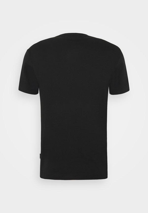 Calvin Klein TEXT REVERSED LOGO - T-shirt z nadrukiem - black/czarny Odzież Męska XFNB