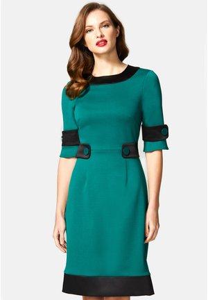60S DRESS WITH CONTRAST HEM - Vestito estivo - green and black