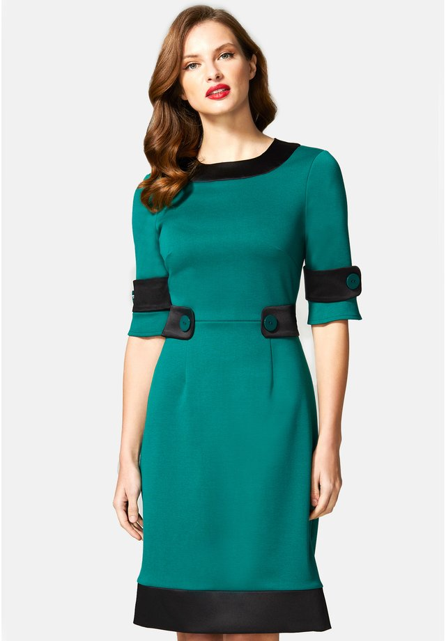 60S DRESS WITH CONTRAST HEM - Day dress - green and black
