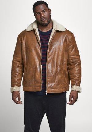 JJFLIGHT JACKET - Faux leather jacket - cognac