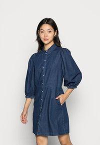 Vila - VITOMA DAIZY SLEEVE DRESS - Shirt dress - dark blue denim - 0