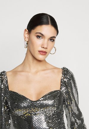 FOIL SEQUIN BODYSUIT - Blusa - black
