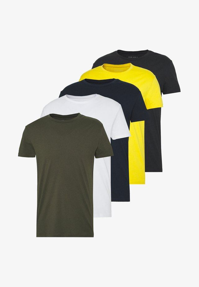 5 PACK - Basic T-shirt - olive/navy/white/yellow/grey