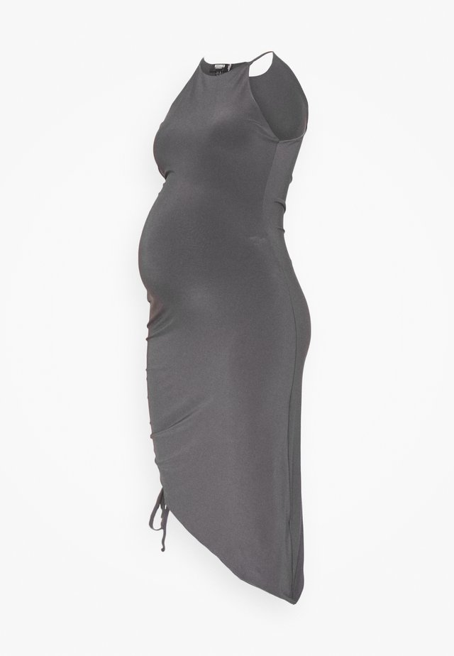 MATERNITY SLINKY RACER NK RUCHED DRESS - Denní šaty - grey