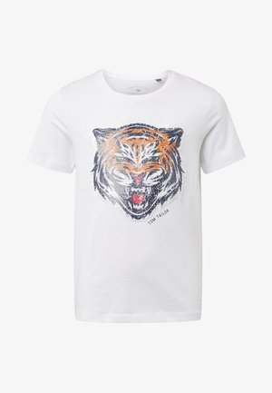 MIT PAILLETTEN-ARTWORK - T-shirt print - white