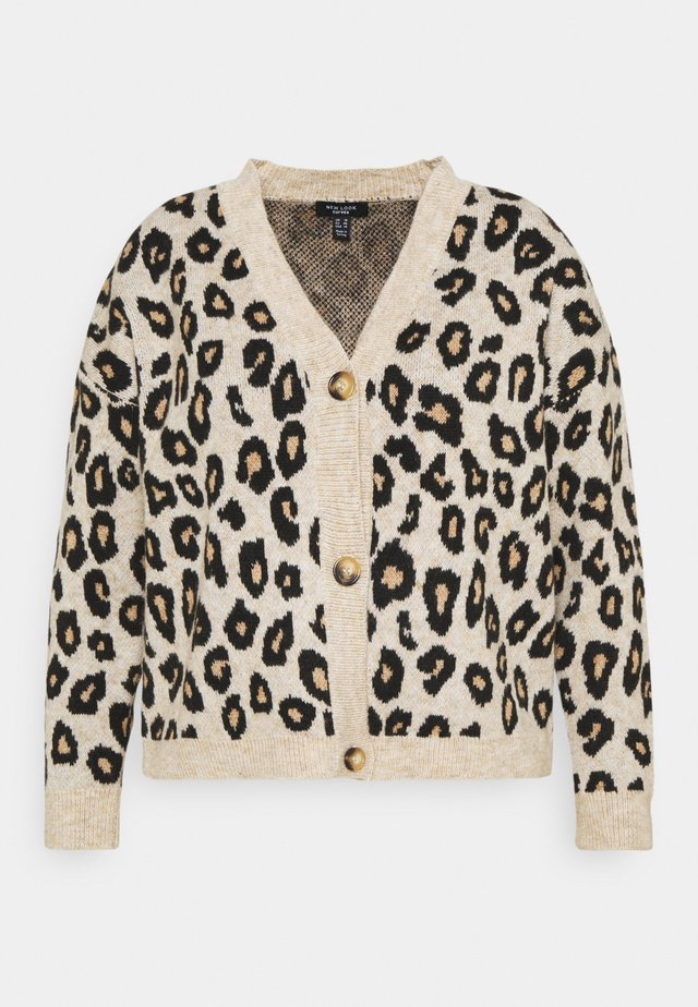 ANIMAL BUTTON THROUGH CARDIGAN - Cardigan - brown