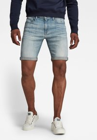 G-Star - 3301 SLIM SHORTS - Shorts di jeans - vintage nassau destroyed - 0