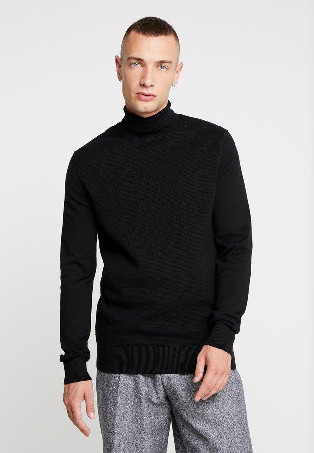 TEXTURED ROLL NECKS - Jumper - black