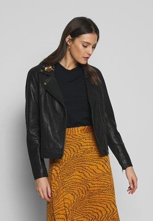 WALLISCR - Leather jacket - pitch black