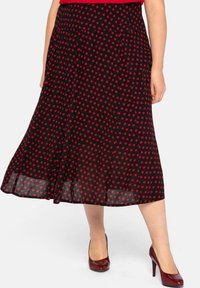 Sheego - Pleated skirt - schwarz-rot - 0