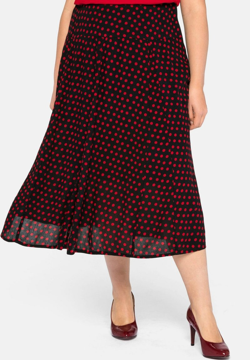 Sheego - Pleated skirt - schwarz-rot