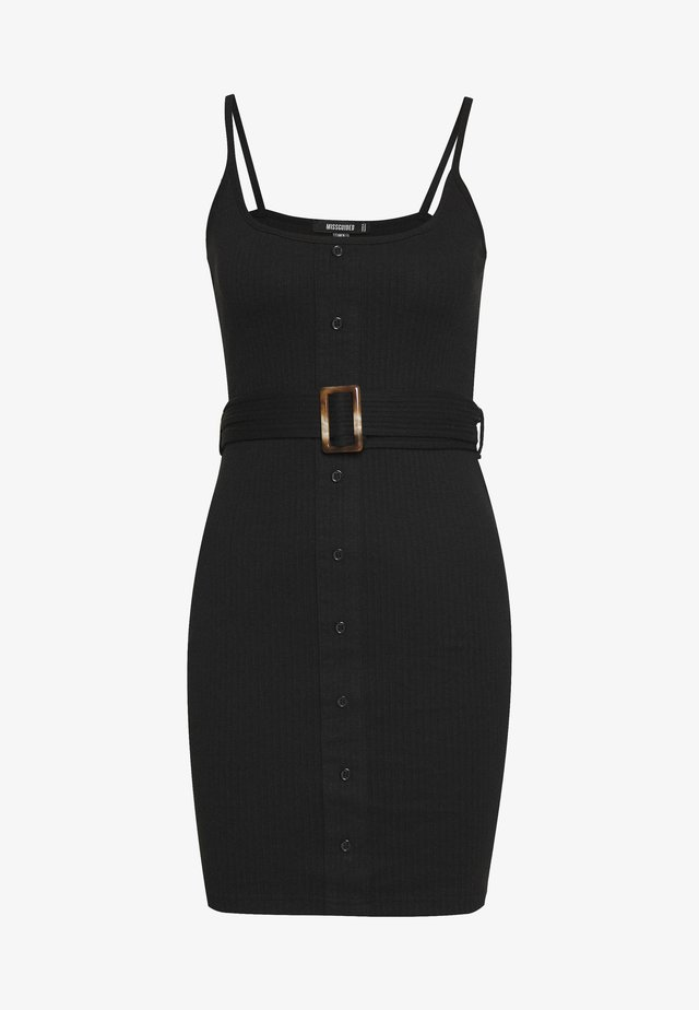 BELTED BUTTON STRAPPY MINI DRESS - Day dress - black