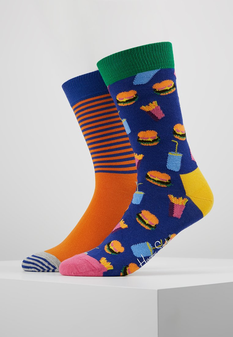 Happy Socks - HAMBURGER HALF STRIPE SOCK 2 PACK - Socks - black/multi-coloured