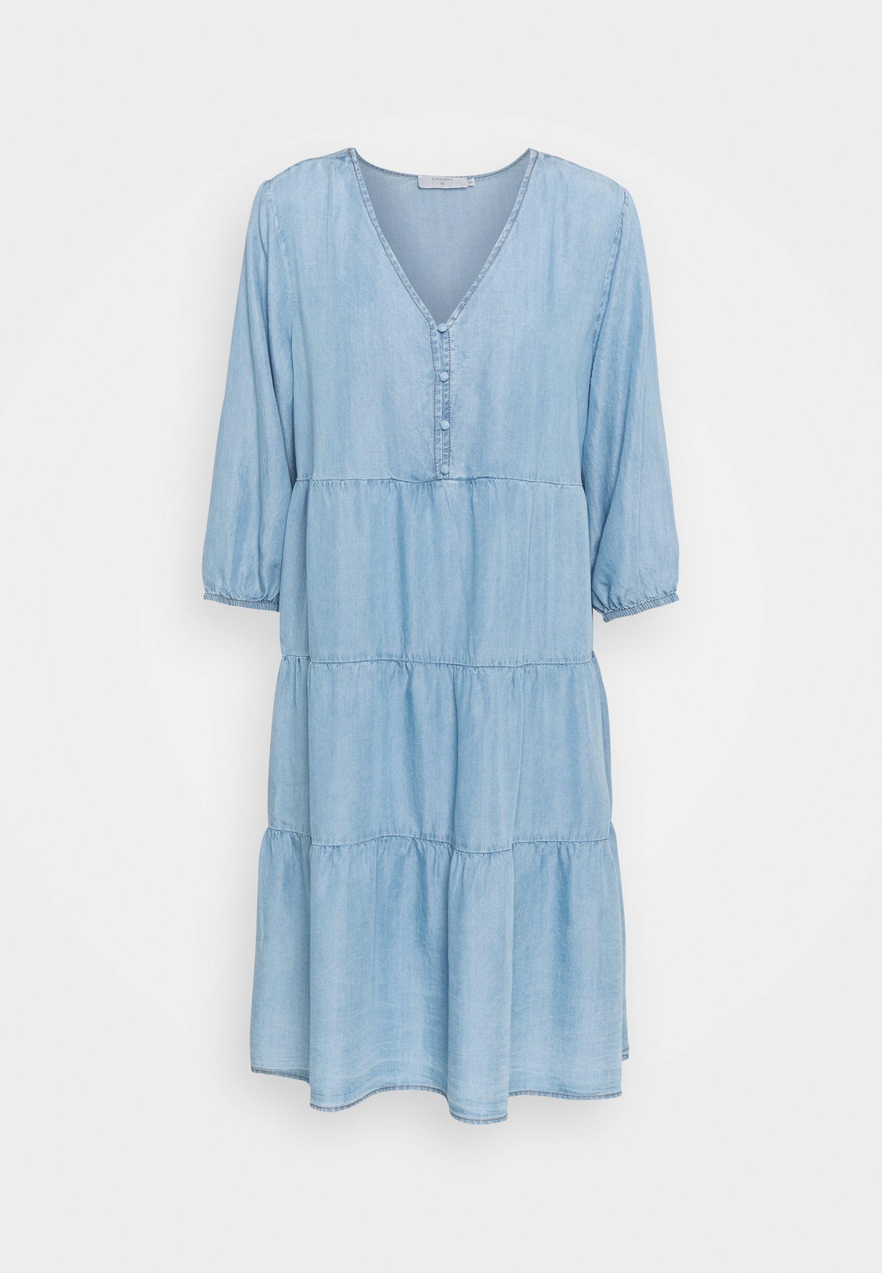 Women AMIRA VOLUME DRESS - Denim dress