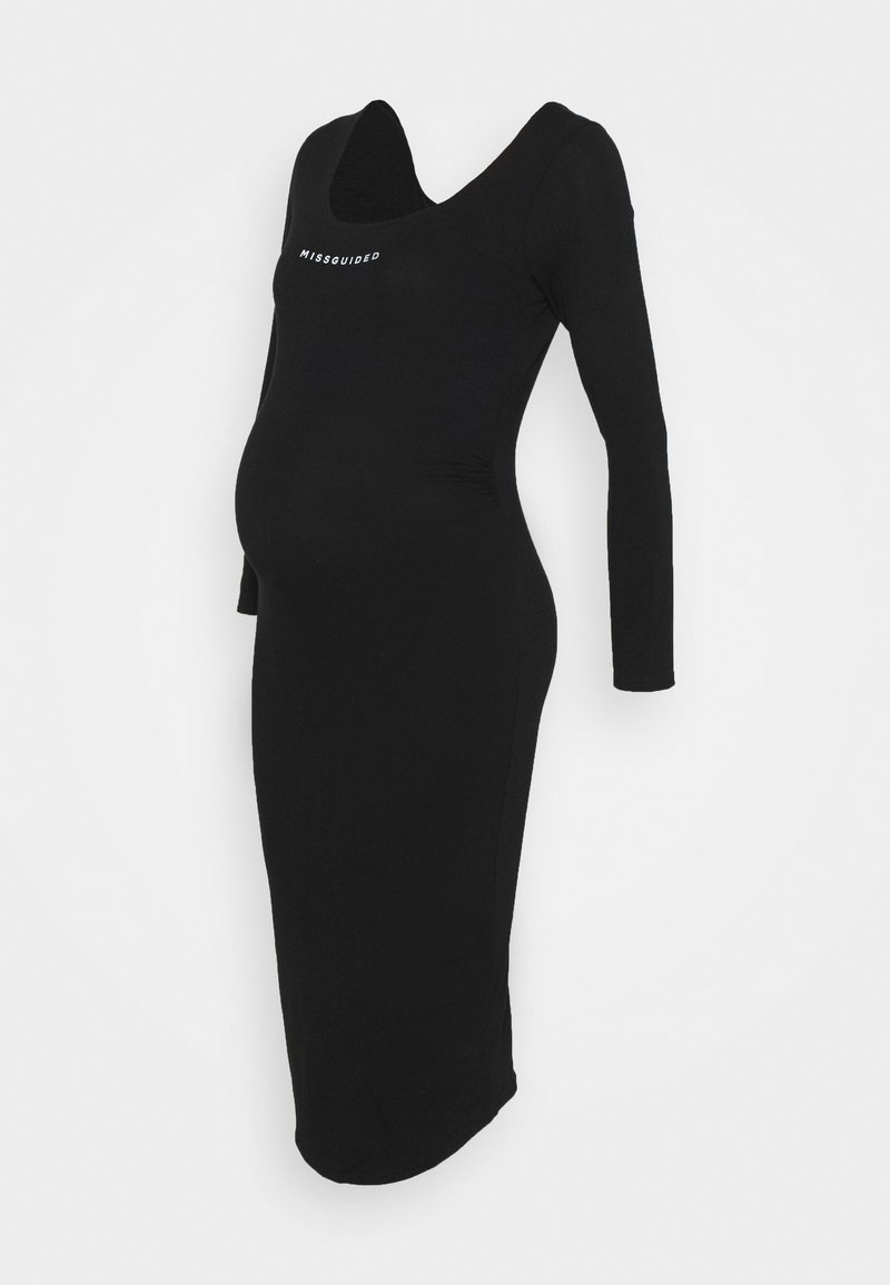 Missguided Maternity - LONG SLEEVE DRESS - Žerzejové šaty - black
