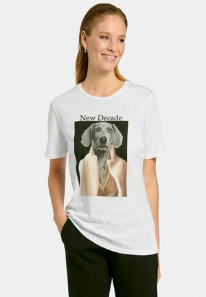 T-shirt con stampa - weiß multicolor