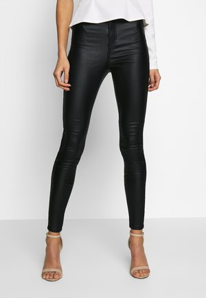 VICE HIGH WAISTED COATED - Trousers - black