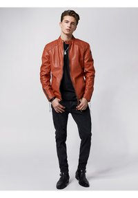Tigha - NERO - Leather jacket - sunrise orange - 1
