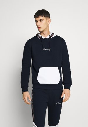 CONTRAST HOOD WITH TAPING - Kapuzenpullover - navy