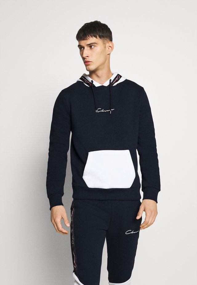 CONTRAST HOOD WITH TAPING - Hoodie - navy