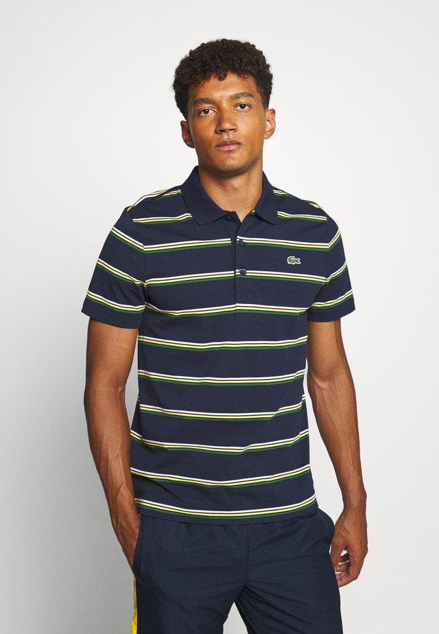 STRIPED - Polo - navy blue/green/white