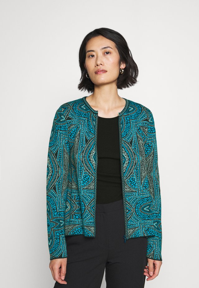 CARDIGAN GEOMETRIC PATTERN - Kofta - pacific