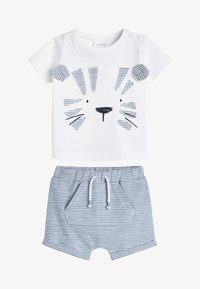 Next - BLUE TIGER APPLIQUé T-SHIRT AND SHORTS SET (0MTHS-3YRS) - Shorts - white - 0