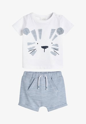 BLUE TIGER APPLIQUé T-SHIRT AND SHORTS SET (0MTHS-3YRS) - Kraťasy - white